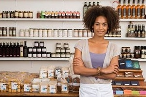 black business girl with afro